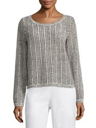 Eileen Fisher Cotton And Linen Blend Knit Top White Black