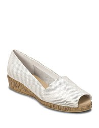Aerosoles Sprig Break Leather And Cork Wedges White Leather