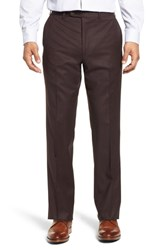 John W. Nordstrom Torino Traditional Fit Flat Front Solid Wool And Cashmere Trousers Burgundy