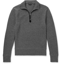 Tom Ford Ribbed Wool And Cashmere Blend Half Zip Sweater Gray
