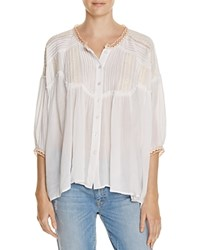 Freeway Embroidered Crochet Trim Blouse White