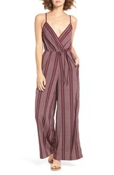 Band Of Gypsies Women's Print Surplice Jumpsuit