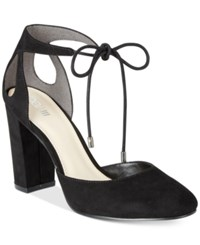 Bar Iii Sabrina Lace Up Block Heel Pumps Only At Macy's Women's Shoes Black