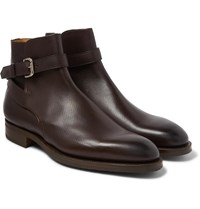 Edward Green Lambourne Textured Leather Boots Brown