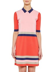 Ted Baker Colour By Numbers Origami Knitted Stripe Dress Red
