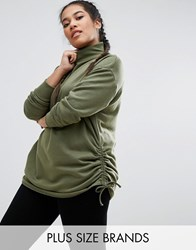 Pink Clove High Neck Sweatshirt With Ruched Sides Khaki Green
