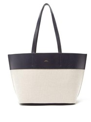 A.P.C. Totally Leather And Canvas Tote Bag White Multi