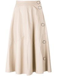 Drome A Line Leather Skirt Nude Neutrals