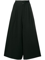 Y's Cropped Wide Leg Trousers Black