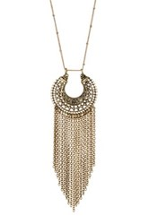 Stephan And Co Brassy Fringe Pendant Necklace Metallic