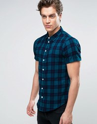 Another Influence Check Shirt With Short Sleeves Navy