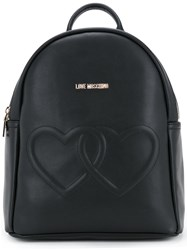 Love Moschino Double Hearts Backpack Women Polyurethane One Size Black