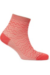 Missoni Metallic Crochet Knit Socks Red