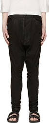 Julius Black Coated Drop Crotch Jeans