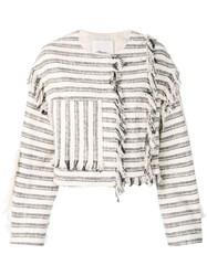 3.1 Phillip Lim Fringed Fitted Jacket Blue
