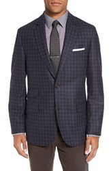 Flynt Men's Big And Tall Regular Fit Check Wool Sport Coat Purple