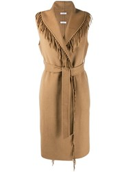P.A.R.O.S.H. Fringed Waistcoat Brown
