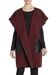Saks Fifth Avenue Black Faux Leather Accented Shawl Jacket Burgundy