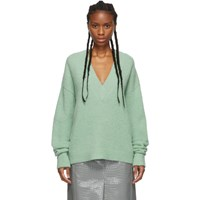 Tibi Green Alpaca Airy V Neck Sweater