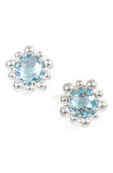 Anzie Micro Dew Drop Topaz Earrings Blue Topaz