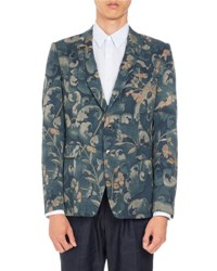 Dries Van Noten Berger Floral Print Two Button Sport Jacket Dark Green