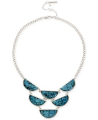 Kenneth Cole New York Silver Tone Shell Crescent Collar Necklace