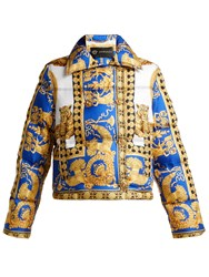 Versace Lovers Baroque Print Quilted Down Jacket Blue Print