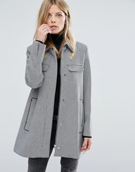 Mango Houndstooth Coat With Pocket Detail Multi