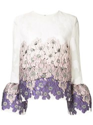 Huishan Zhang Floral Bell Sleeve Blouse White