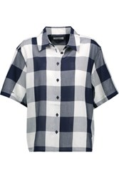 Equipment Guiliana Checked Cotton Voile Shirt Midnight Blue