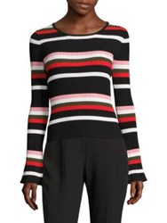 Scripted Striped Bell Sleeve Sweater Red Mult