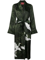 F.R.S For Restless Sleepers Crane Print Duster Coat Green