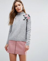 New Look Floral Embroidered Jumper Grey