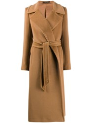 Tagliatore Belted Mid Length Coat Brown