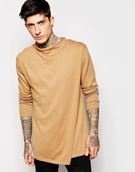 Asos Jumper With Zip Back And Funnel Neck Camel