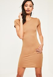 Missguided Nude Cap Sleeve Crew Neck Bodycon Dress Camel