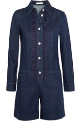 See By Chloe Embroidered Denim Playsuit Mid Denim