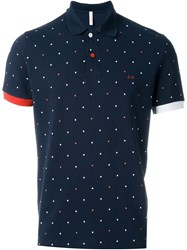 Sun 68 Polka Dot Contrast Detail 'Pois' Polo Shirt Blue