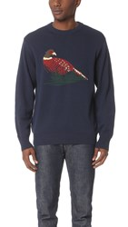 White Mountaineering Bird Pattern Intarsia Round Neck Knit Sweater Navy