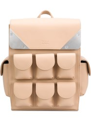 Valas Multiple Pockets Small Backpack Nude And Neutrals