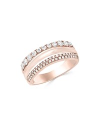 Bloomingdale's Diamond Triple Row Ring In 14K Rose Gold .60 Ct. T.W. 100 Exclusive White Rose
