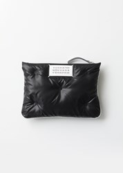 Maison Martin Margiela Quilted Logo Zipper Pouch Black Silver Black Silver