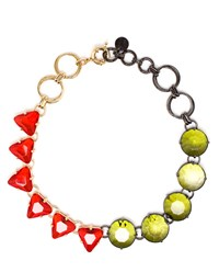Valentina Brugnatelli Milena Swarovski Necklace Yellow Red Green Multi Olive Green Bright Red