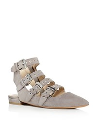 Dolce Vita Elodie Buckle Embellished Pointed Toe Flats Smoke Gray Silver