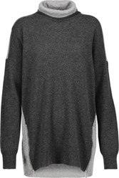 Magaschoni Zip Embellished Two Tone Cashmere Turtleneck Sweater Charcoal