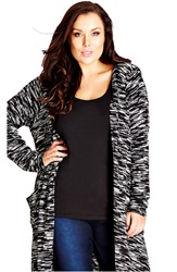 City Chic Long Space Dye Hooded Cardigan Plus Size Black