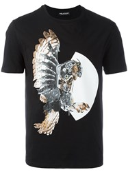 Neil Barrett Mechanical Owl Print T Shirt Black