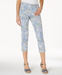 Charter Club Petite Bristol Printed Skinny Ankle Jeans Only At Macy's Light Blue Air Combo