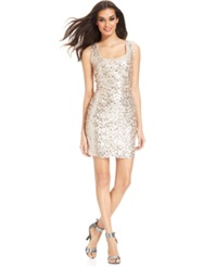 Guess Cap Sleeve Sequin Sheath Champagne