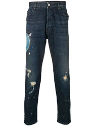 Just Cavalli Paint Stroke Jeans Blue